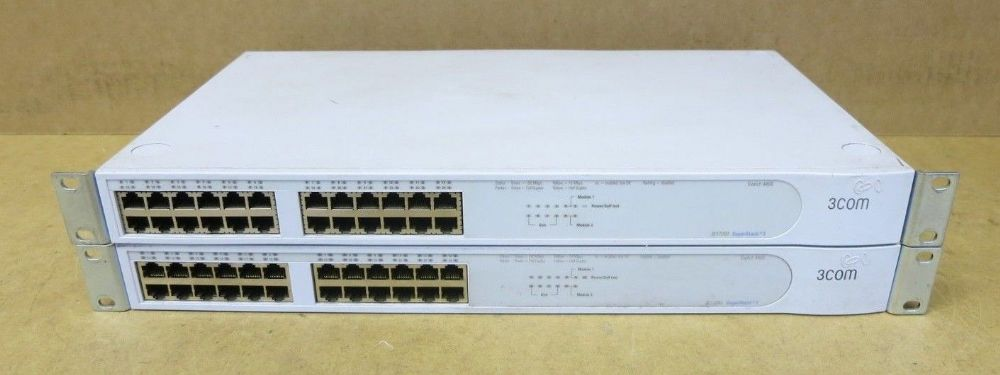 2 x 3Com 4400 24-Port SuperStack 3 Fast Ethernet Network Switch 3C17203